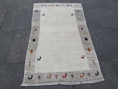 Old Hand Made Traditional Persian Rugs Oriental Beige Wool Gabbeh Rug 160x102cm