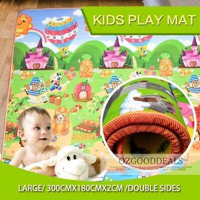 20mm Thick XXL Baby Kids Play Mat Floor Rug 3mx1.8m 2 Sides Alphabet Animal EF
