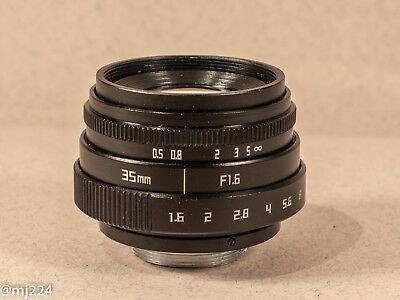 35mm F1.6 APS-C Manual Lens C Mount (nd Filter, Lens Hood And C To m4/3 Adapter)