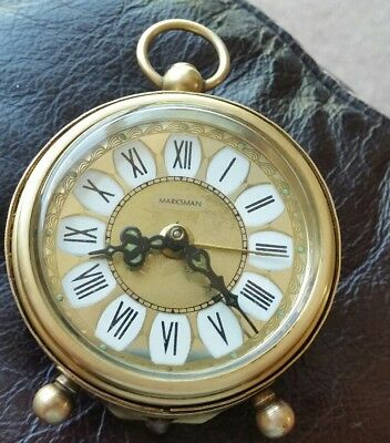 Vintage Ornate 'Marksman' Solid Brass Wind Up Alarm Clock West German Working
