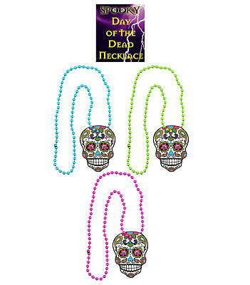 3 Day Of The Dead Necklaces - Costume Fancy Dress Up Halloween Death Skull Adult