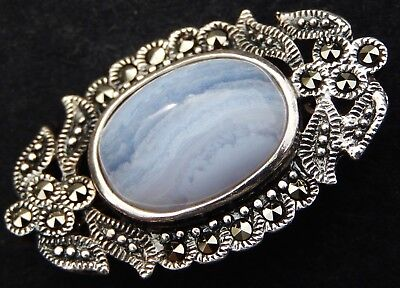 Fine Quality Vintage Solid Silver and Blue Lace Agate Brooch