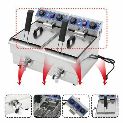 23.4L Commercial Deep Fryer w/Timer Drain Fast Food French Fry Electric Cooker V