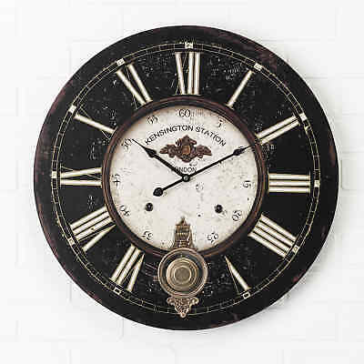 Large 59cm Retro Pendulum French Wall Clock. Kensington Station Shabby Chic 04