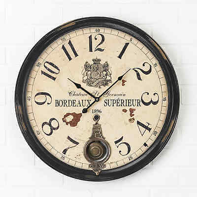 Large 59cm Retro Pendulum French Wall Clock. Bordeaux Superieur  Shabby Chic 01