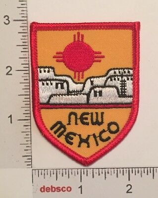 Vintage NEW MEXICO State Zia Red Sun & Adobe Houses Travel Souvenir PATCH