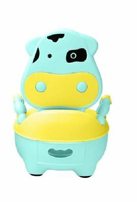 Cozy Cow Baby Toddler Toilet Trainer Safety Green Potty Training Seat Fun Blue