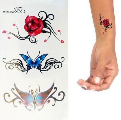 Einmal Tattoo Blume Rose- Temporary Tattoo Aufkleber Temporäre TattoosRC-247