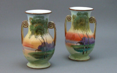 Nippon Vase Pair Cottage Sunset Signed