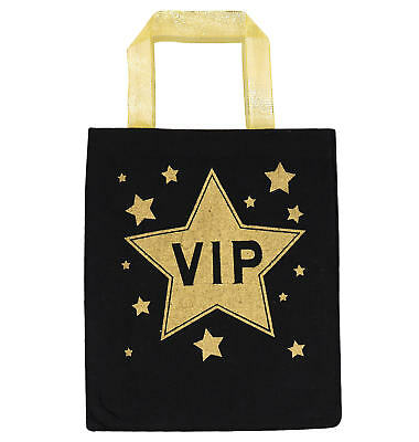 VIP Fabric Bag - Costume Accessory Fancy Dress Celebrity Movie Prop Black Gold