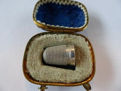 Antique Sterling Silver Thimble And Case Hallmarked Chester 1909 Charles Horner