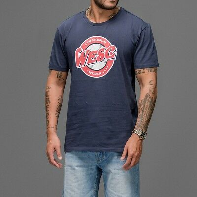 STOCK CLEARANCE SALE - Authentic WESC OLD SCHOOL LOGO Navy T-Shirt Tee