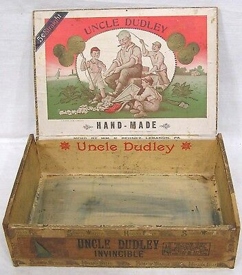 Vintage Wood Cigar Box Uncle Dudley Fab Label Old Man with Kids Lebanon PA