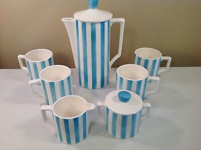 VTG Turquoise White Candy Stripe Coffee Tea Cocoa Set Royal Sealy