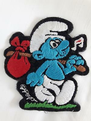 Vintage Smurf patch crest embroidered unused