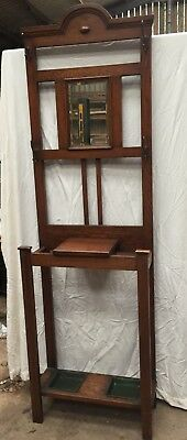 Antique/Vintage Hall Stand with Glove Box, Umbrella Stand and Hat/Coat Hooks