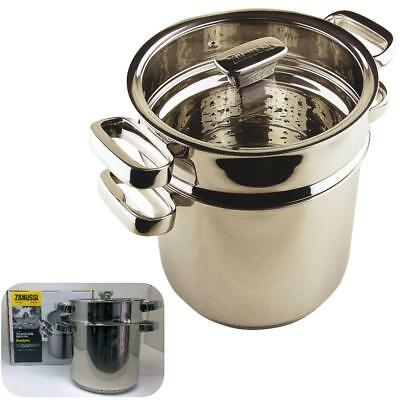 Boxed ZANUSSI Premium Stainless Pasta Pot/Steamer 20cm Induction LIFE Guarantee