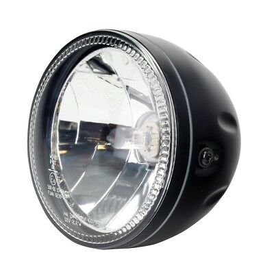 BLACK Single Round Halo Motorcycle Headlight Headlamp Cafe Racer Streetfighter