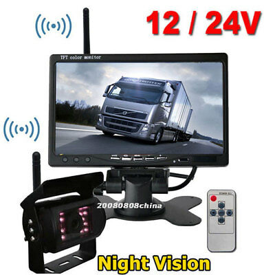 """Wireless 7"""" HD Rear View Monitor with IR Night Vision Backup Camera for RV Truck"""