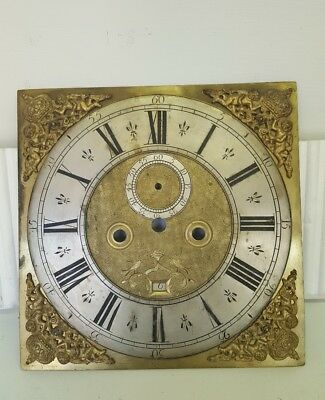 "18th Century 12"" Brass Grandfather Clock Dial"