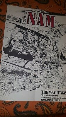 1986 The Nam 22 by 15 3/4 Marvel Vietnam War comic book promotional promo poster