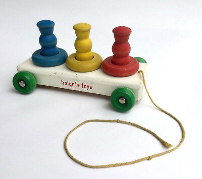 Vintage Holgate Toys Wood Pull Toy 1940s/50s Wood Pegs and Rings