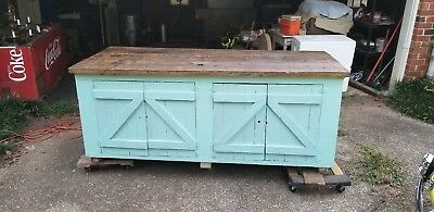 Large Rustic Farmhouse Kitchen Island -- 7 Feet Long