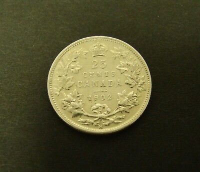 1902 H CANADA 25 CENTS SILVER    Canadian VF/XF    Foreign Coin 25c