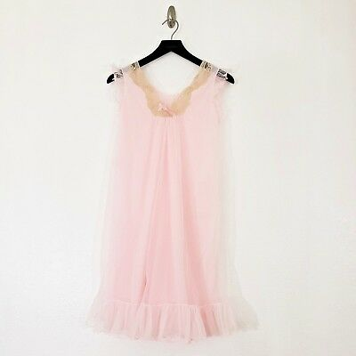 Intime Double Layer Chiffon Nightgown Negligee Vintage Lace Trim 100% Nylon Pink