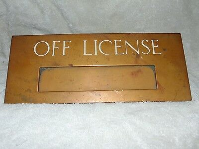 Rare Original Antique Vintage Bronze Off License Door Letterbox Plaque Pub Door