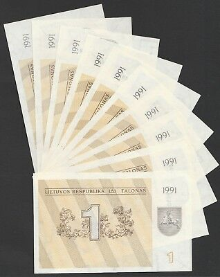 L04 LITHUANIA talona 1991, P32a, 8 diff. prefixes incl. consecutives mostly UNC!