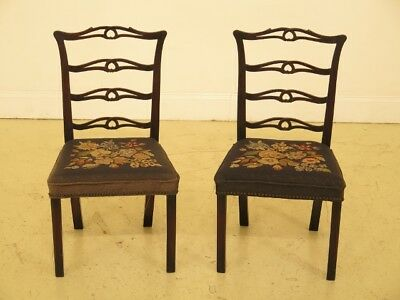 F30256EC: Pair Antique Childs Size Ribbon Back Mahogany Chairs