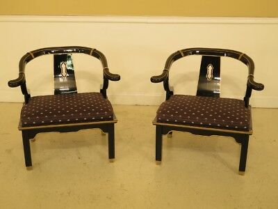 F45832EC: Pair CENTURY Chinese Black Lacquer Occasional Chairs