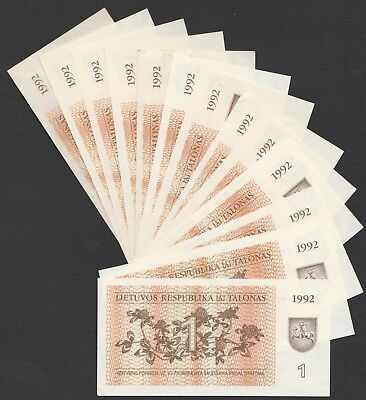 L08 LITHUANIA 1 talona 1992, P39, 13 different prefixes, UNC
