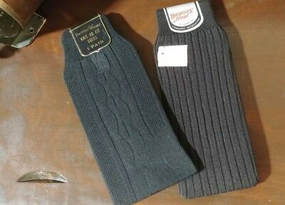 2 PAIR VINTAGE 1940s MENS STRETCH SOCKS BLACK NOS WITH ORIGINAL PAPER TAGS