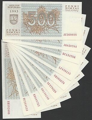 L11 LITHUANIA 500 talonas 1993, P46, 10 different prefixes! AU/UNC