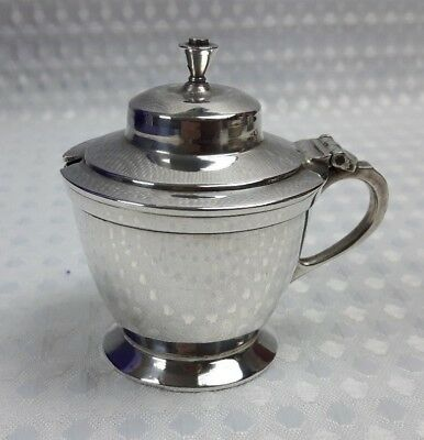 Silver Plated Mustard Pot With Blue Glass Liner 1929 Regent Plate Vintage VGC