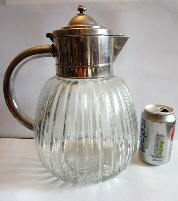 Very Large 31 Cm Silver Plated Fluted Glass Claret/water Jug. Made In Italy