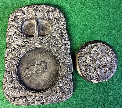 RARE Vintage Antique Chinese Inkstone W/Dragons With Lid