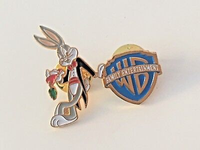 "Vintage 1994 - Gold Tone Double Pin Back ""Warner Brothers & Bugs Bunny"""