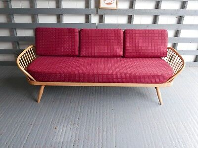Cushions & Covers Only. Ercol Daybed.  92% Subtle Red Wool with grey diamonds