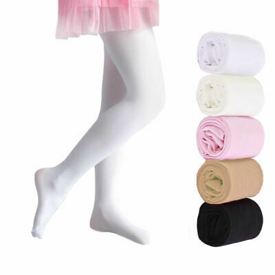 Girls Full Foot ballet tights Socks Silky Dance Tights Pink White Black 3 13 Yrs