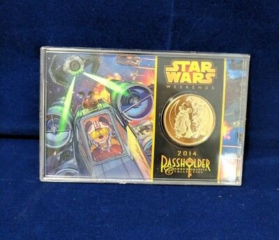Disney Star Wars Weekends Passholder 39MM 24KT Gold Plated Coin LE 3000 New