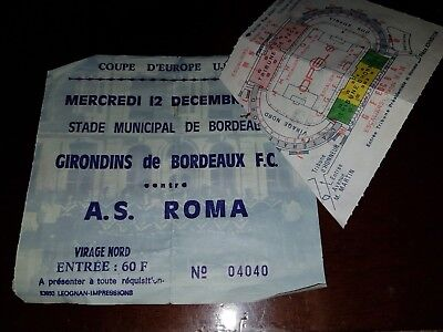 BORDEAUX   v roma   OFFICIAL USED MATCH TICKET CALCIO UEFA CUP 1990