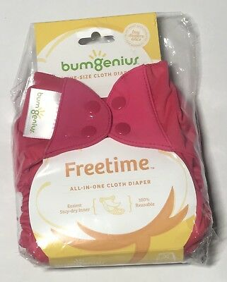 BumGenius Freetime All in One Cloth Diaper NEW Pink - Countess -