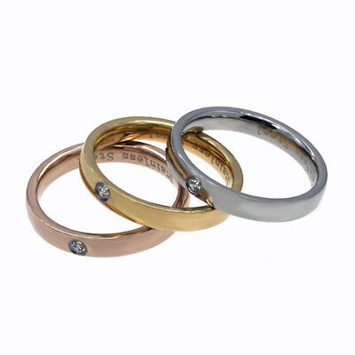 *NEW* 3pcs Engagement Stainless Steel CZ Wedding Ring Set Silver/Gold/Rose Gold