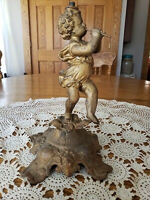 Antique Cast Metal Cherub Playing Flute Lion Head Heart Oil Electric Lamp Base