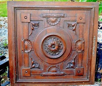 Pair Architectural Cabinet Door Antique English Carved Wood Salvaged Furniture