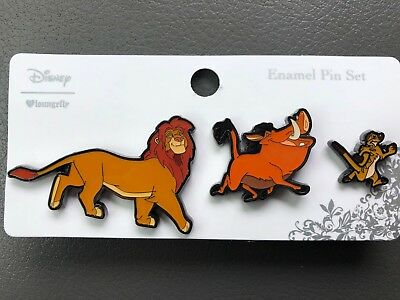 Disney The Lion King Simba Timon & Pumba Loungefly Enamel Pin Set Boxlunch Excl