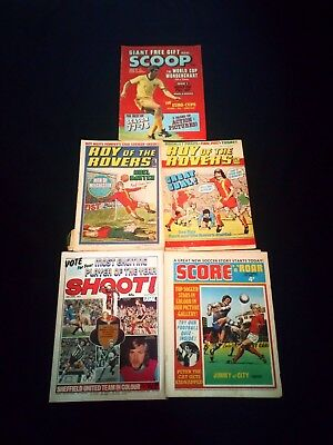 Roy of the Rovers/Score/Shoot/Scoop Vintage Football Comic Joblot x 5 1970's Era
